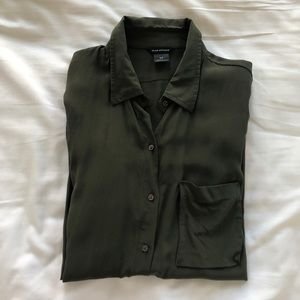 Olive Green Silk Shirt - Club Monaco
